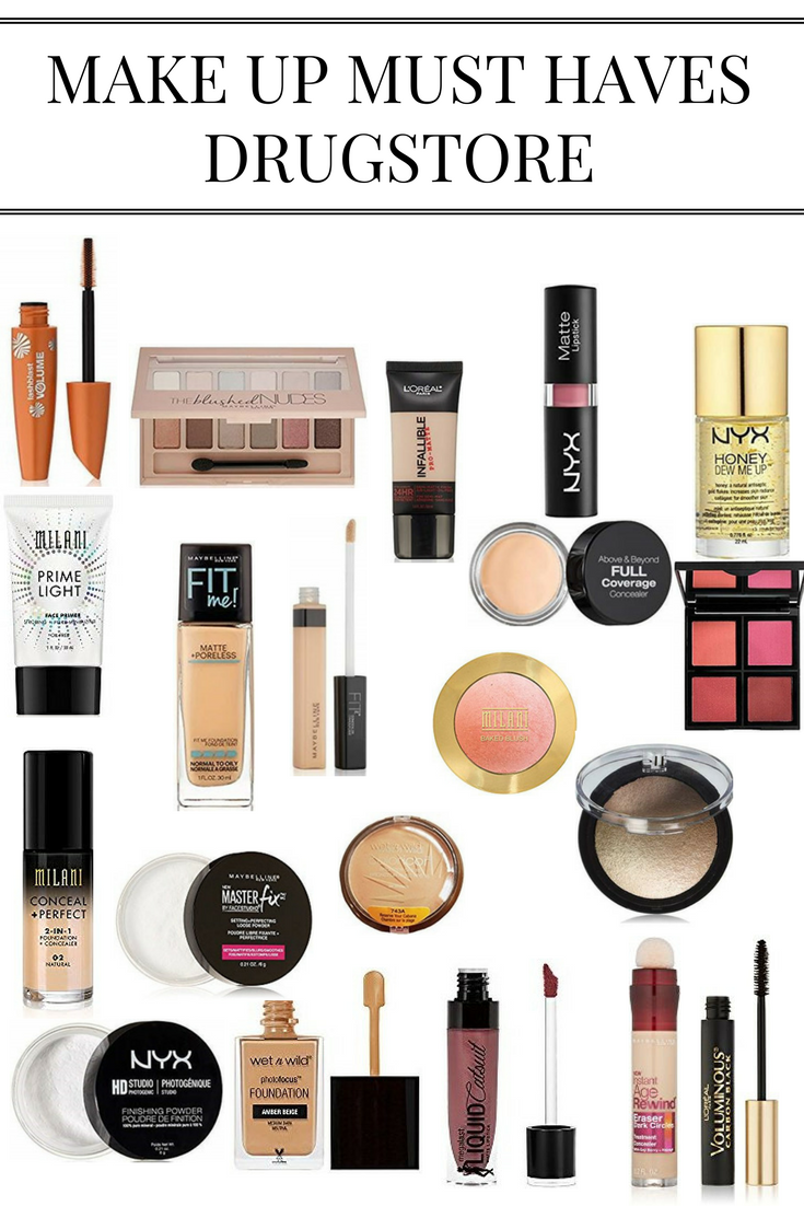 heres a super helpful guide for products you can find at drugstores my personal favorite is the maybelline fit me concealer and foundation - Makeup Must Haves