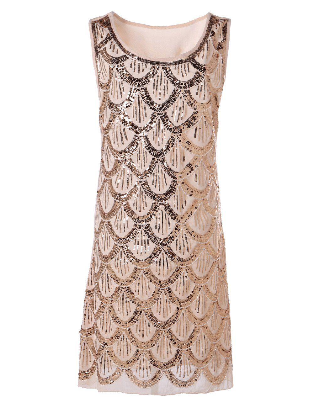 217aa849 PrettyGuide Women Art Deco Mermaid Sequin Fishscale Flapper Glam Party Dress  Beige at Amazon Women's Clothing store: