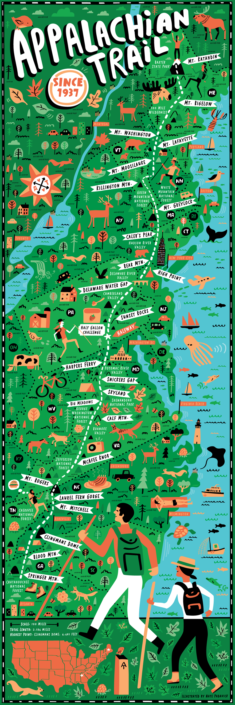 Appalachian Trail map illustrated by Nate Padavick | Hiking in 2018 ...
