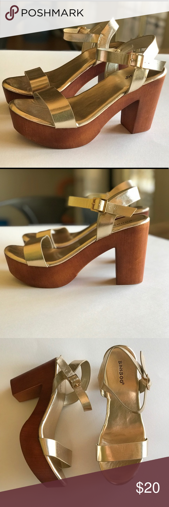 dd22493aa85 Bamboo brand gold platform heels Gold heels with ankle straps. Never worn. BAMBOO  Shoes Heels