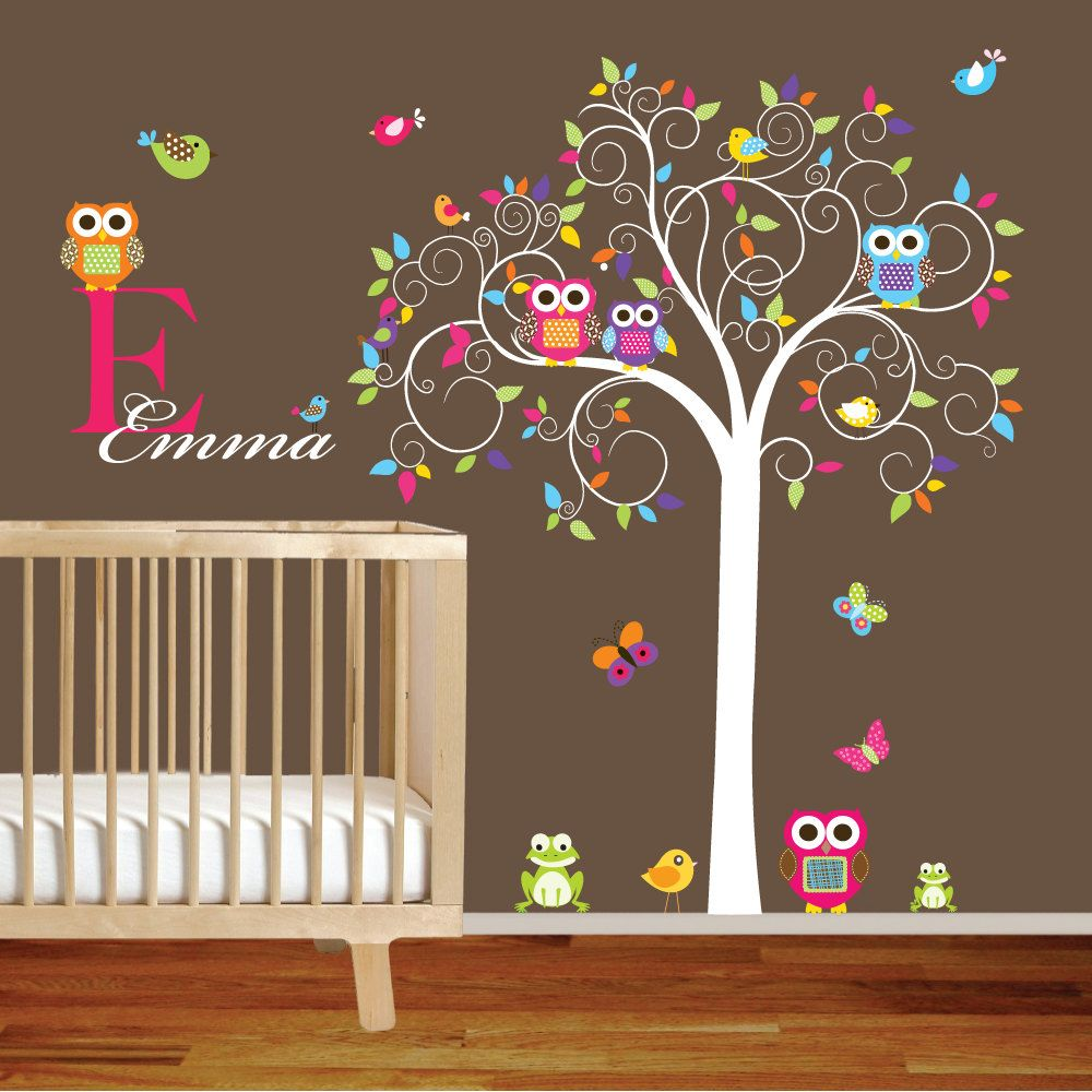 Custom Listing Swirl Tree Vinyl Wall Decal Set With Leaves,flowers Birds, Owls Vinyl Wall Decal Sticker Nursery Colorful