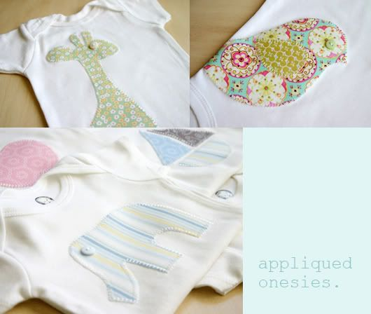 Onesie appliques and templates - sweet way to use those fabric scraps