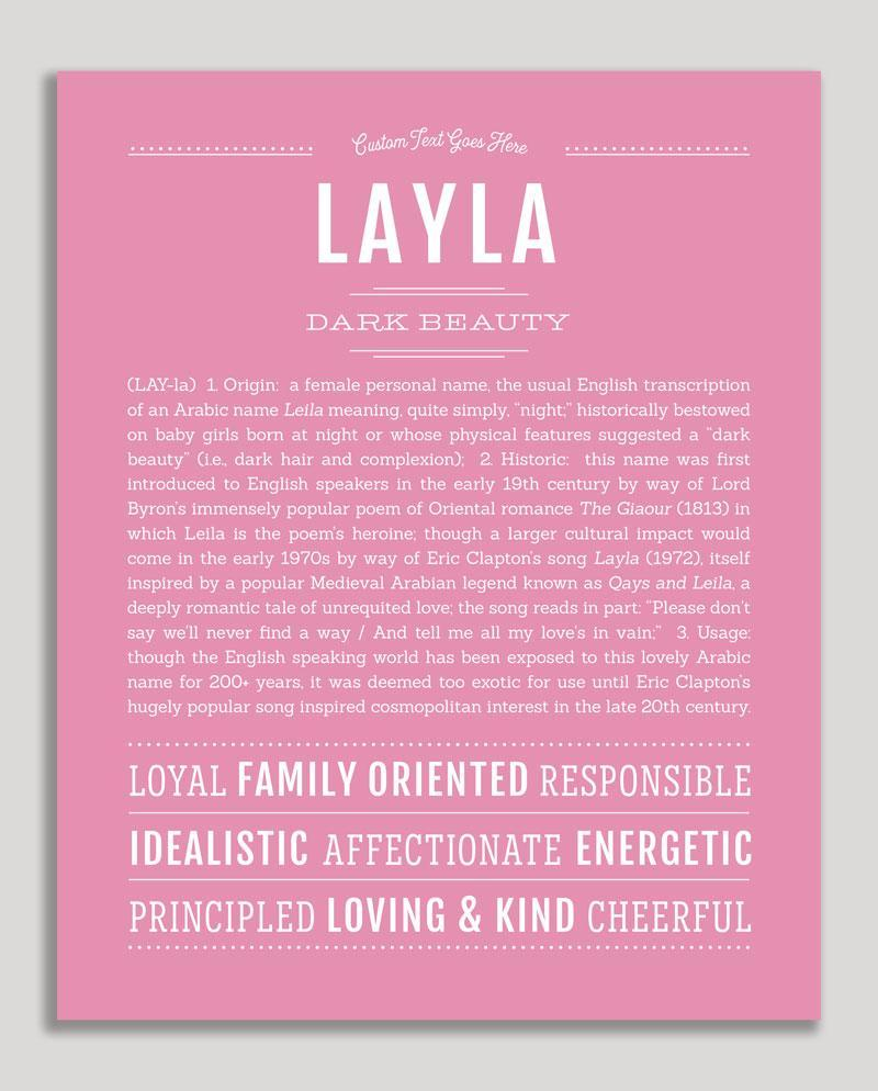Layla | Classic Name Print | Classic names, Names with ...