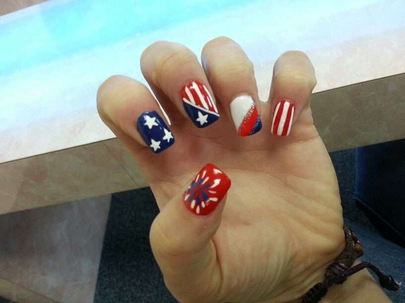 Fireworks nail art for July 4 | Nails | Pinterest | Firework nail ...