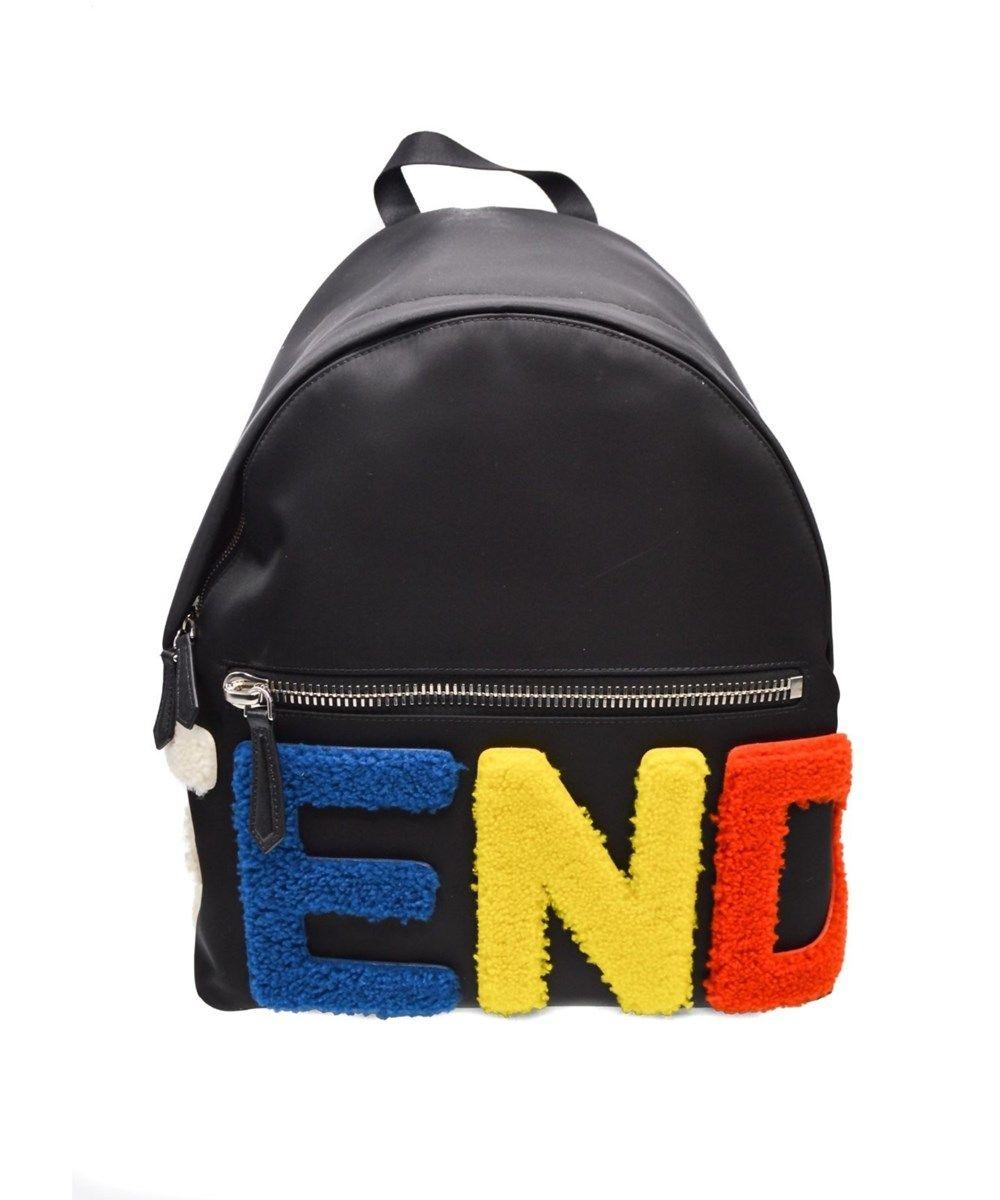 9788b6265f FENDI Fendi Women S Colorful Shearling Letter Logo Leather Backpack .  fendi   bags  leather  nylon  backpacks