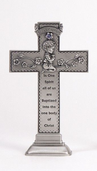 Praying Boy Standing Baptism Cross, Blue Crystal - 5 inch