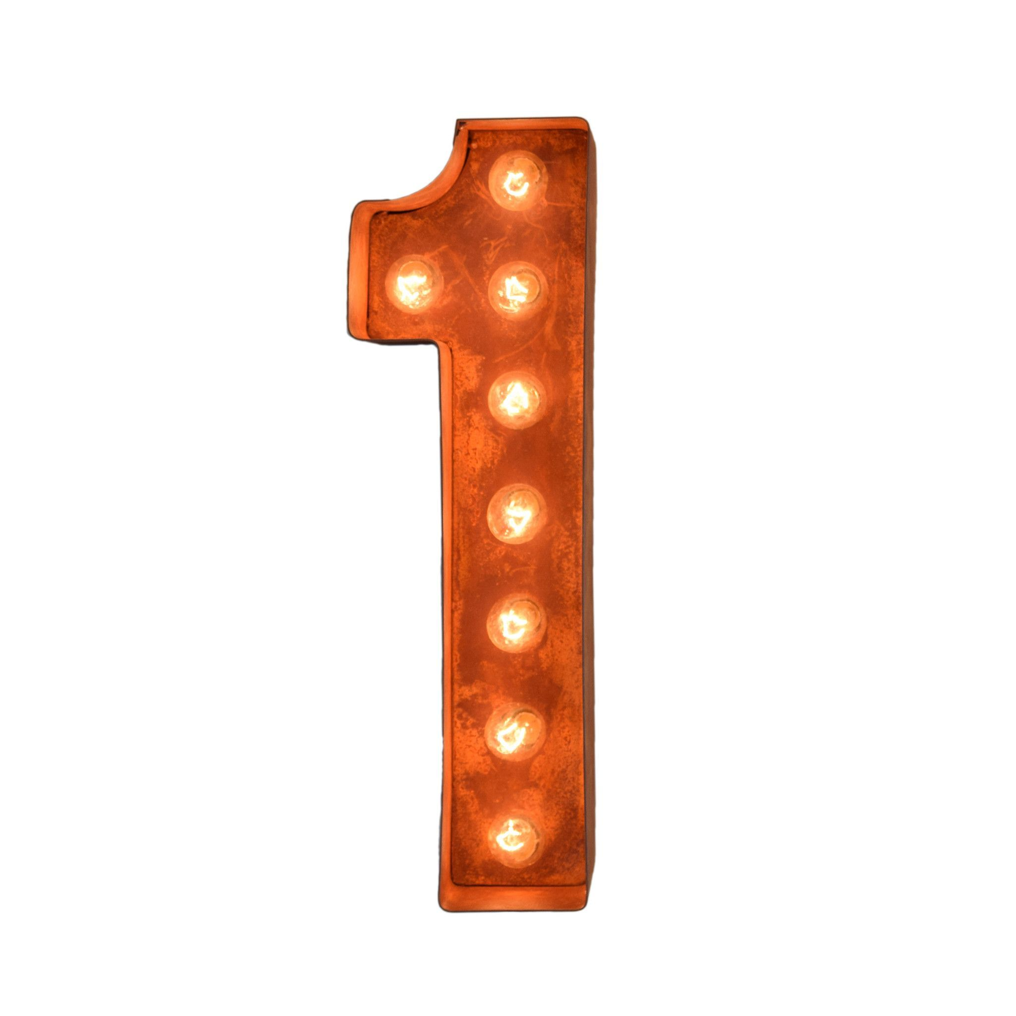 "12"" Number 1 (One) Sign Vintage Marquee Lights 