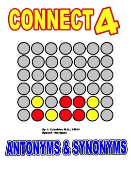 SPEECH THERAPY CONNECT FOUR for SYNONYMS & ANTONYMS BUNDLE ...