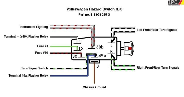 Emergency Flasher Switch VW IPC VW Parts, VW Bug Parts and VW Bus