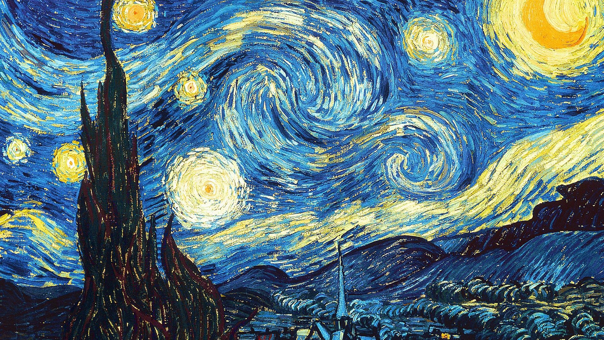 vincent van gogh starry night wallpaper 1920x1080
