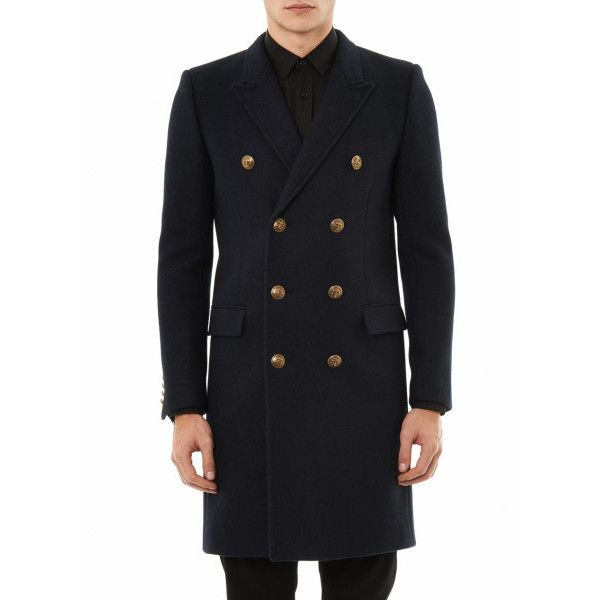 c0a2613a9d7 Saint Laurent Double breasted Wool Coat in Blue for Men (navy) Lyst ❤ liked