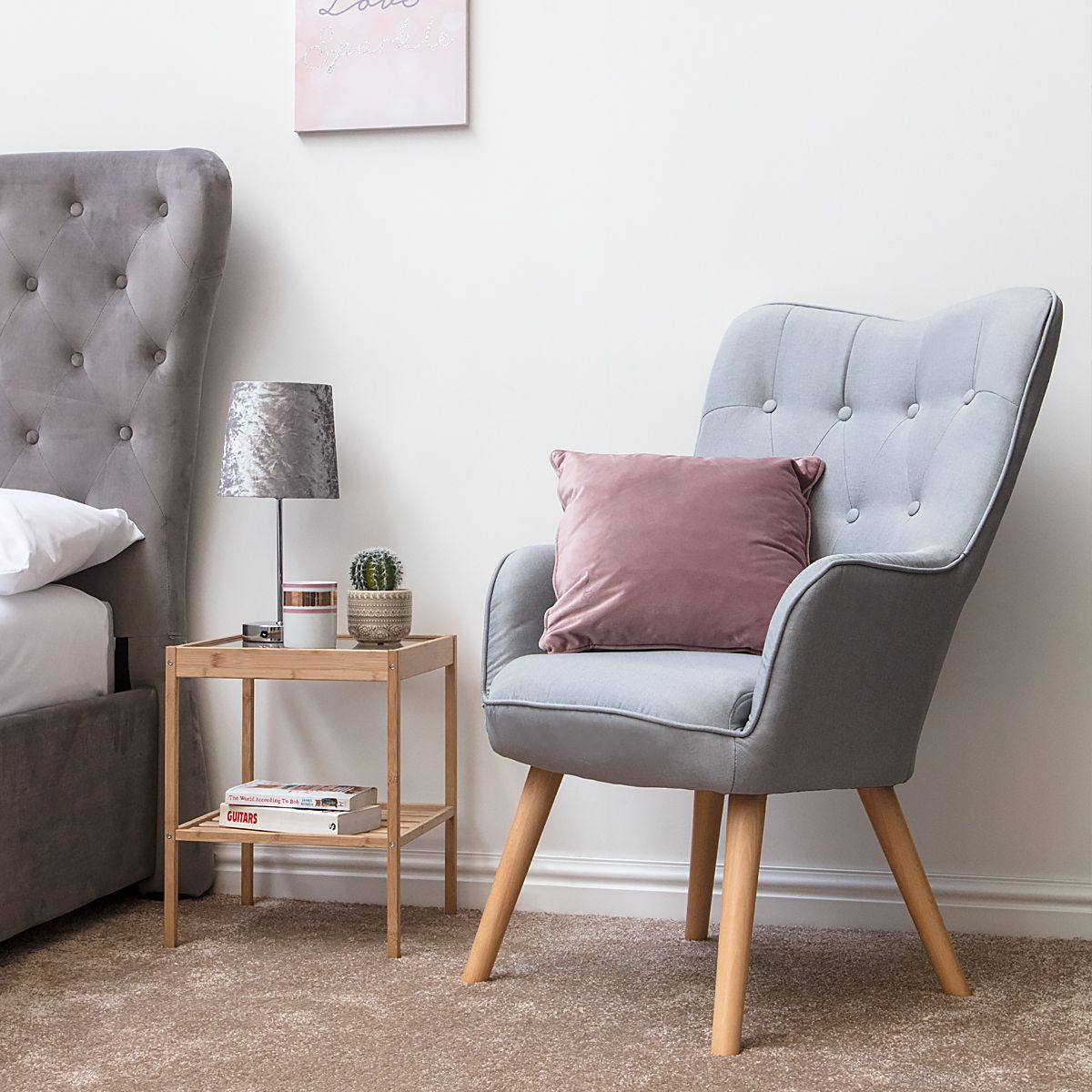Alton Light Grey Occasional Accent Bedroom Arm Chair ...