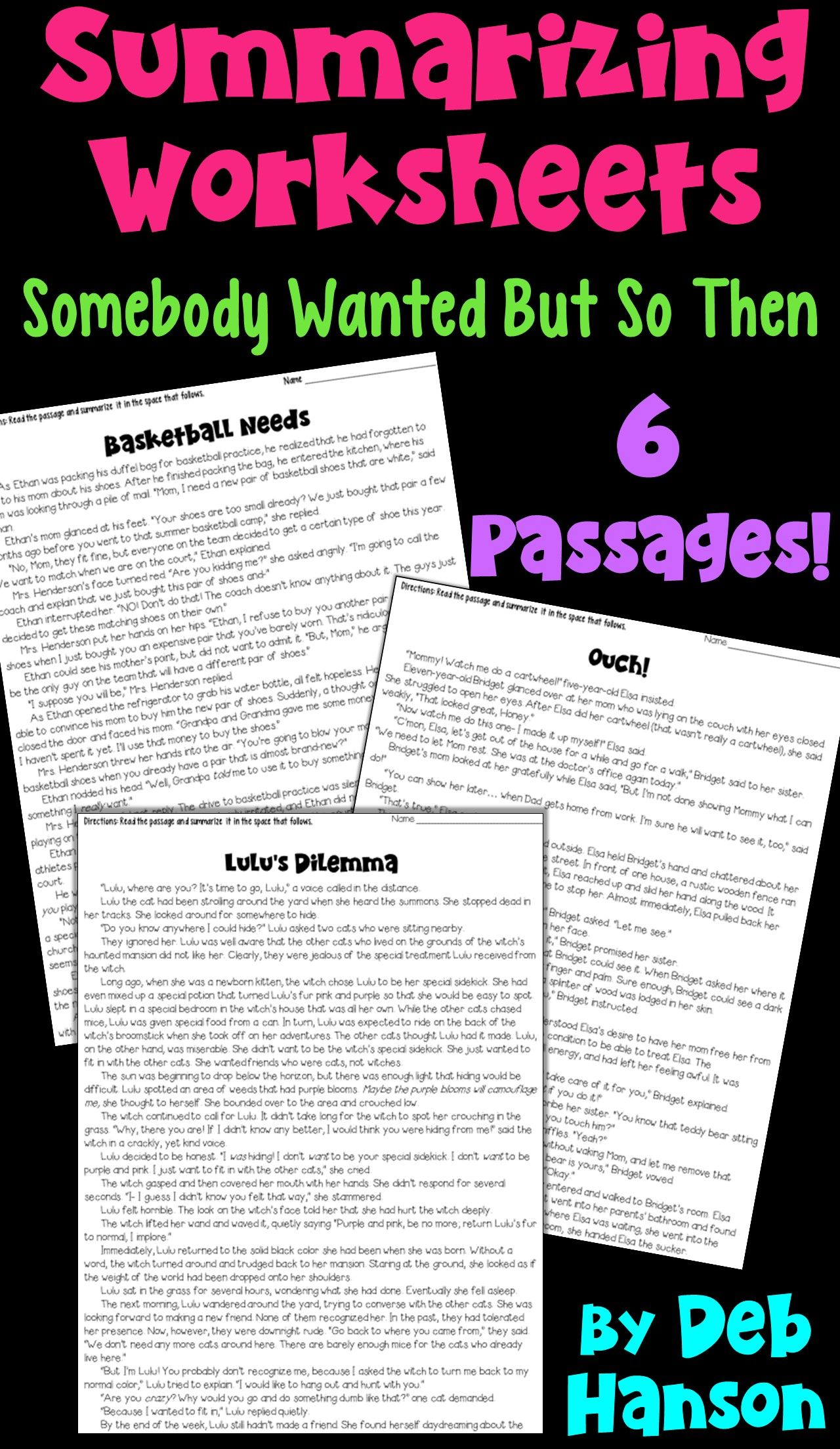 Summarizing Fiction Practice Passages