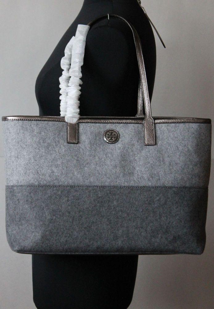 a33cf05ddff1 Tory Burch ASHLEY SHOPPER Bag Tote Handbag Flannel Felt Grey  ToryBurch