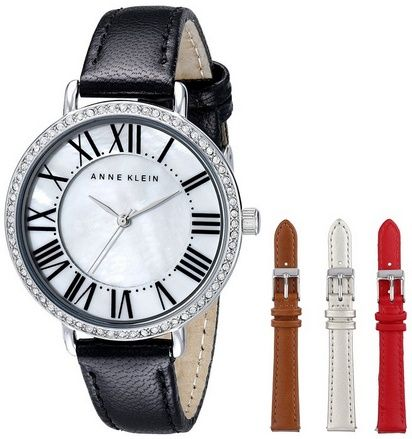 awesome Women's AK/1617INST Swarovski Crystal Accented Interchangeable Leather Strap Watch Set - For Sale Check more at http://shipperscentral.com/wp/product/womens-ak1617inst-swarovski-crystal-accented-interchangeable-leather-strap-watch-set-for-sale/