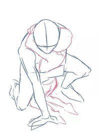 crouching hug two people pose reference | anime | pinterest | pose