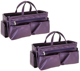 104da17095 Set of 2 Ready Set Go Expandable Bag Organizersby Lori Greiner ...