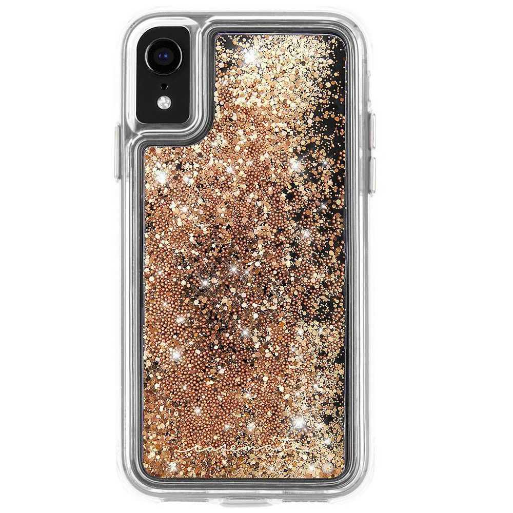 Casemate iphone xr waterfall gold case liquid glitter