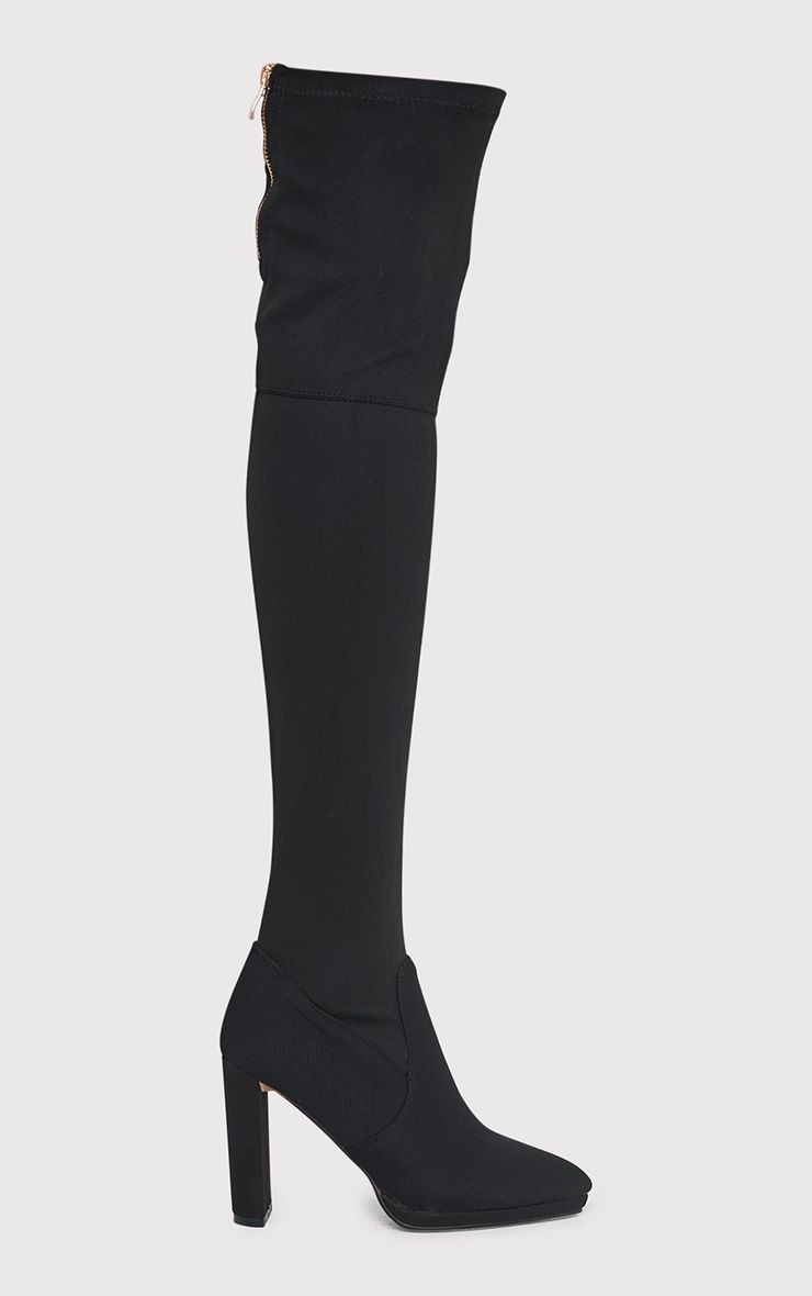 Riyah Black Knitted Pointy Thigh High Sock Boots   boots ...