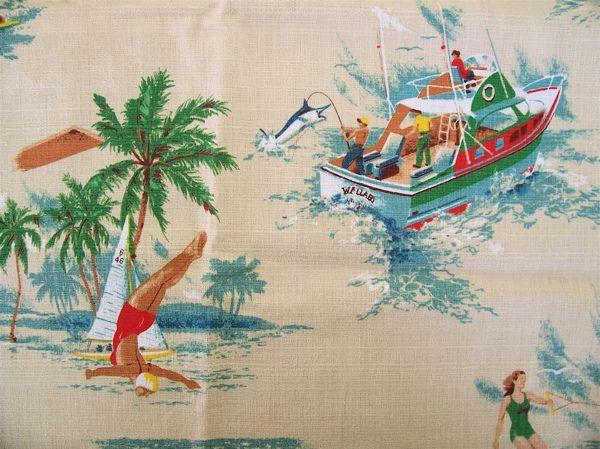 1950s-60s cotton barkcloth