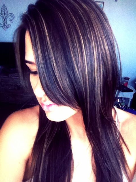 Dark Hair Color With Highlights Beauty Pinterest Dark Hair