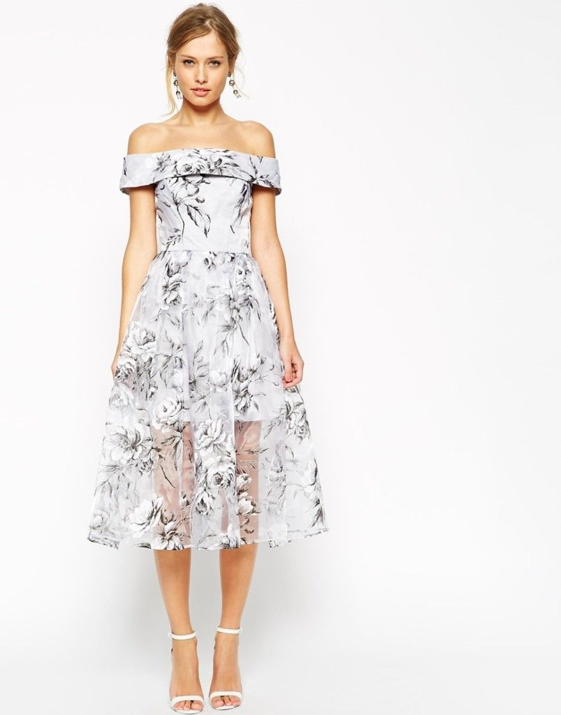 Asos salon midi dress in floral organza wedding for Dresses to wear at weddings as a guest