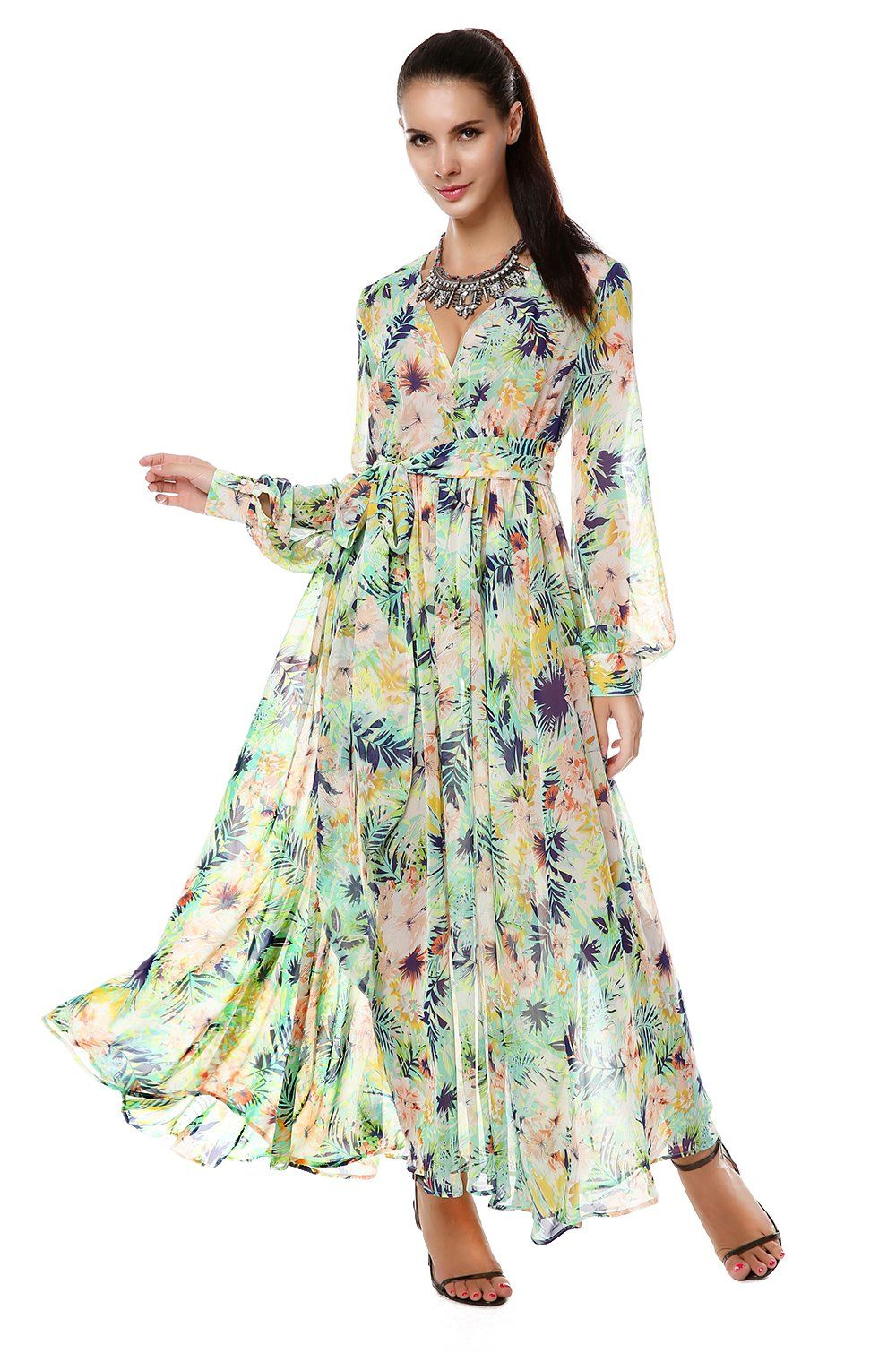 42981cb2d022 ACEVOG Women Summer Tropical Flower Printed Chiffon Long Sleeve Beach Dress  (S