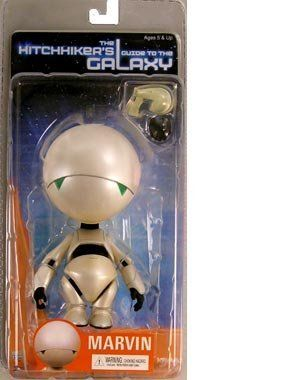 "Hitchhikers Guide to the Galaxy MARVIN The Paranoid Robot 6"" Action Figure (2005 NECA) by NECA. $59.99. Made by NECA in 2005 and long out of production.. HITCHIKER'S GUIDE TO THE GALAXY SERIES 1 ACTION FIGURE: MARVIN THE PARANOID ANDROID FIGURE.. Also comes with an extra gripping hand and gun.. Marvin features a balljointed neck and shoulders, bending elbows, swivel wrists, hinge waist, and v-crotch articulation.. Hitchhikers Guide to the Galaxy MARVIN Robot, part of the ..."
