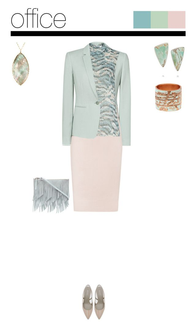 Office outfit: Aqua - Rose by downtownblues on Polyvore #officewear  #pencilskirt  #abstractprint