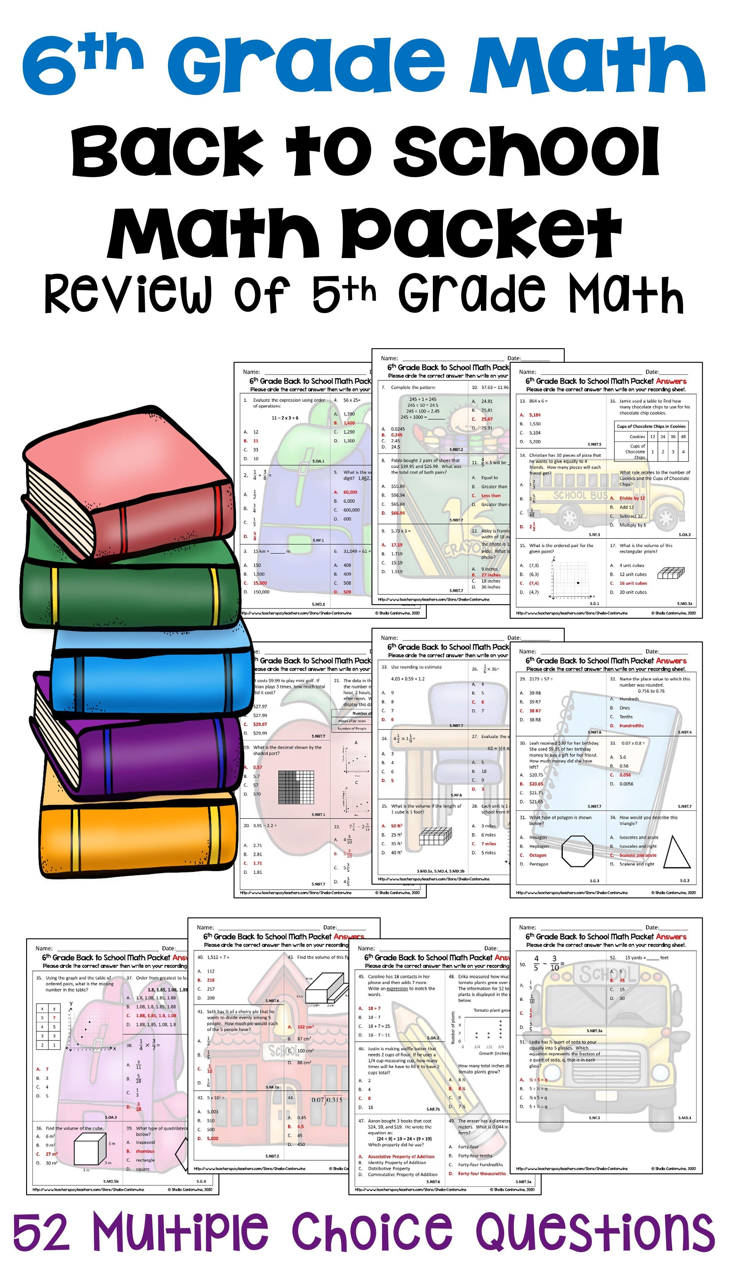 6th Grade Math Back To School Math Packet