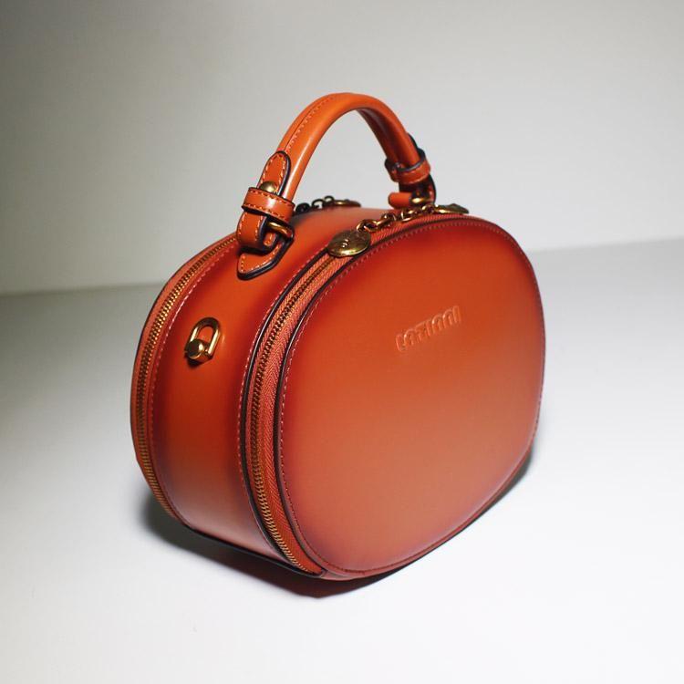 6a5777ab249f Genuine Leather Handbag Round Circle Bag Shoulder Bag Crossbody Bag Purse  Clutch For Women