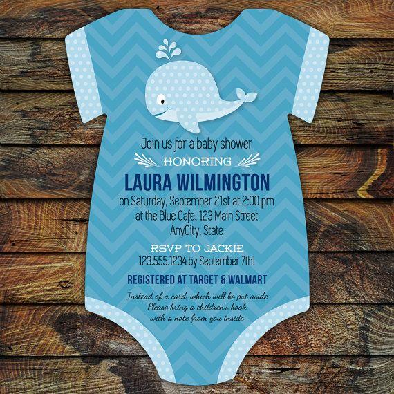 Whale Baby Shower Invitations 20 Onesie die by LittleBeesGraphics