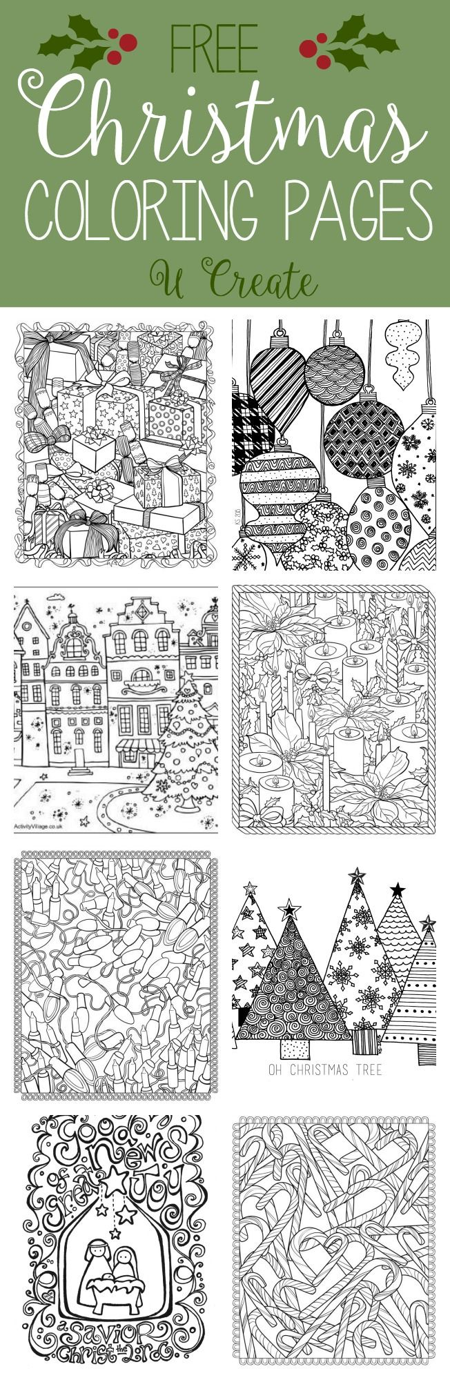 Free Christmas Adult Coloring Pages (U Create) | Adult coloring ...