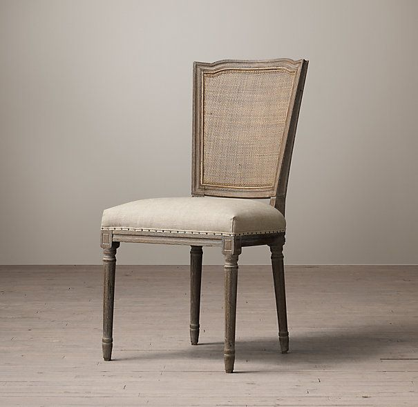 vintage french nailhead cane back upholstered side chair | chairs