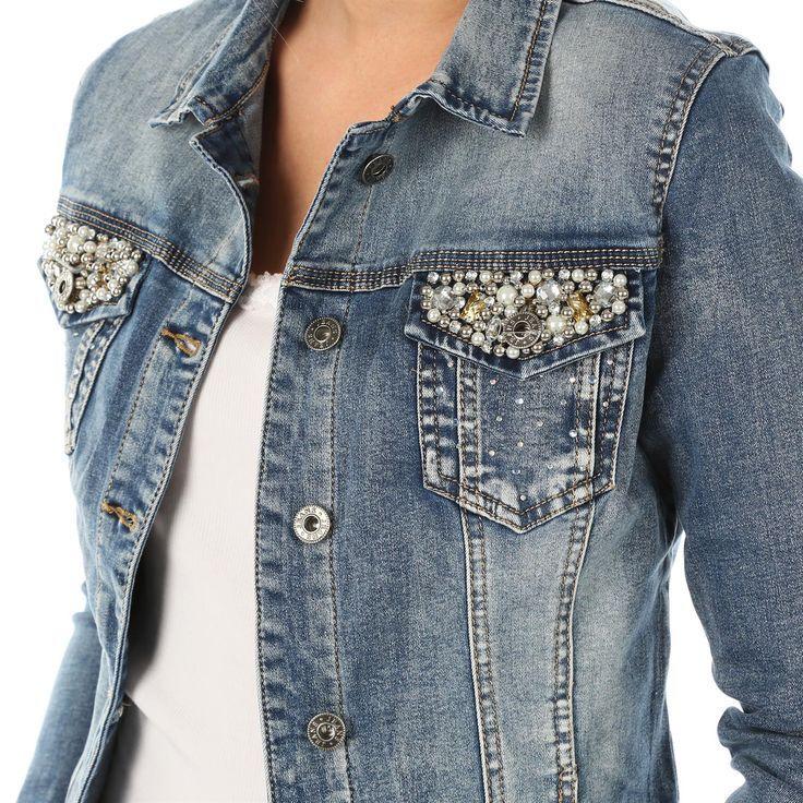 FASHION Damen Jeans Jacke Jeansjacke Perlen Nieten bestickte