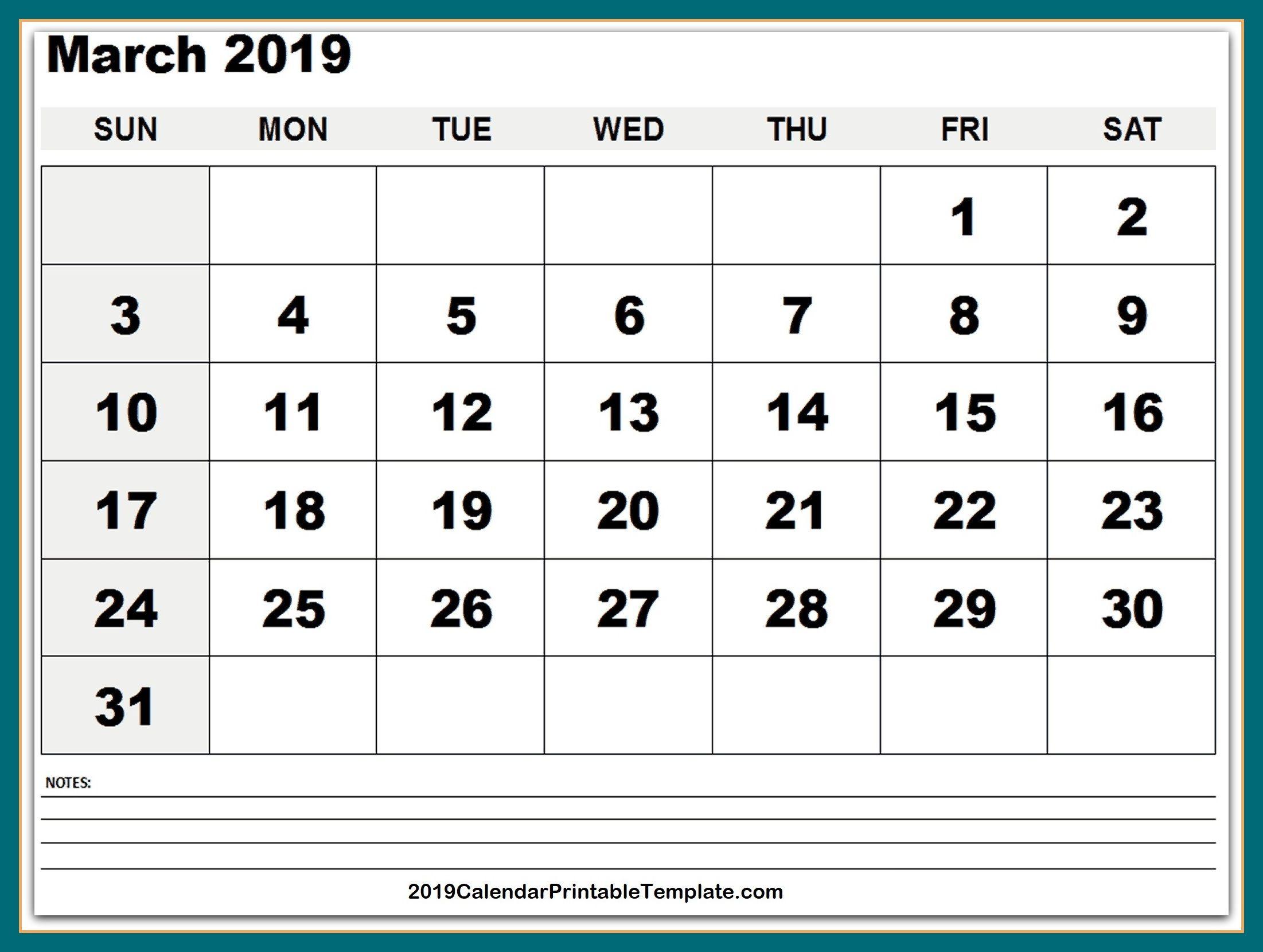 March 2019 Calendar Pdf Https Www 2019calendarprintabletemplate