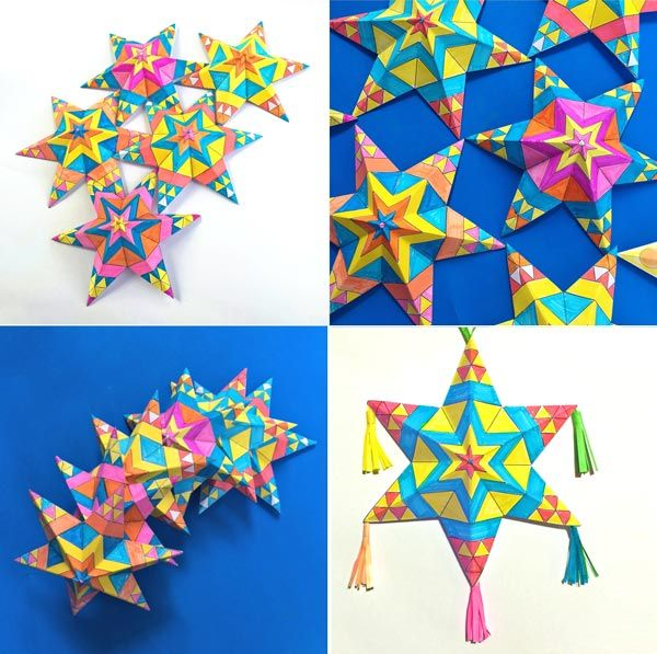 Mexican Paper Star Decorations For Cinco De Mayo Mexican Crafts