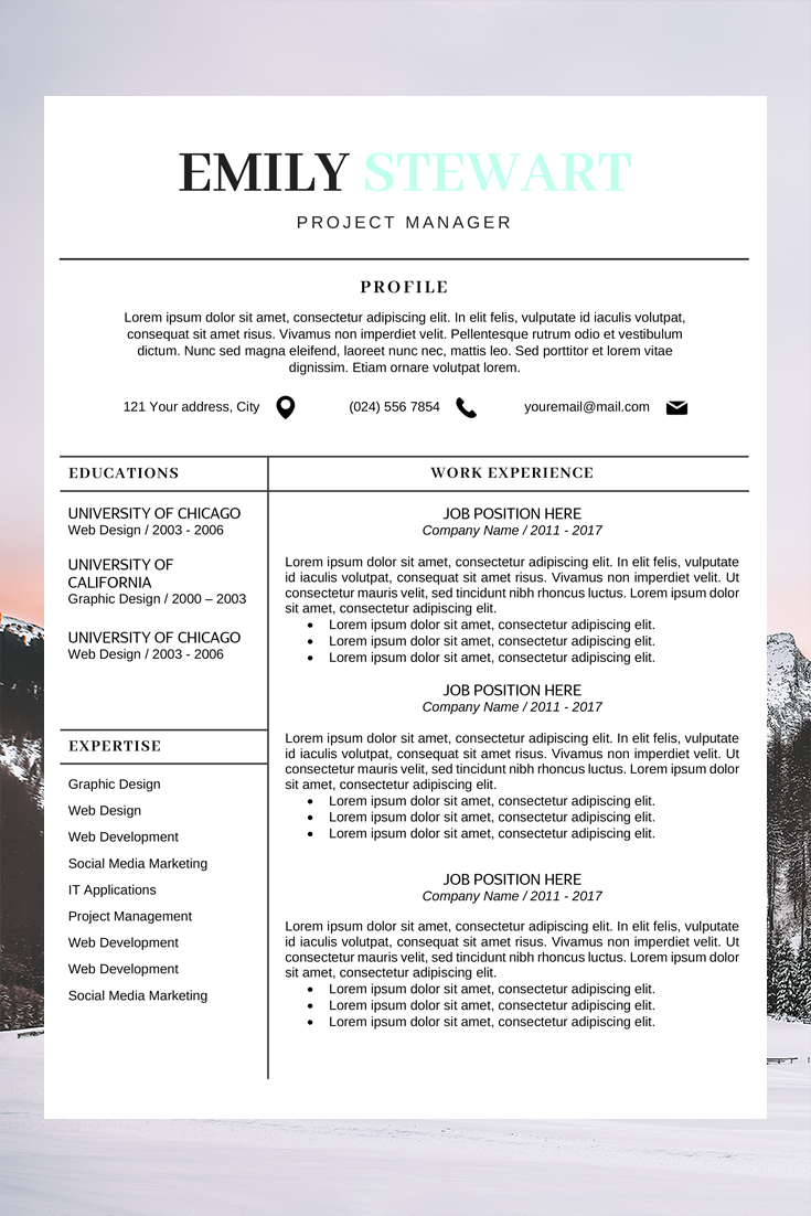 Resume Word Template Resume Cover Letter Template Cv Resume Template Creative Cv Template Simple Resume Template Resume Design Template