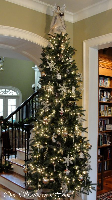 Christmas Home Tour Downstairs Our Southern Home Slim Christmas Tree Skinny Christmas Tree Christmas Foyer