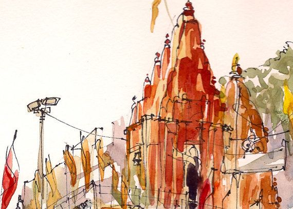 Gift For Traveler India Watercolor Sketch Of By Sketchaway On Etsy