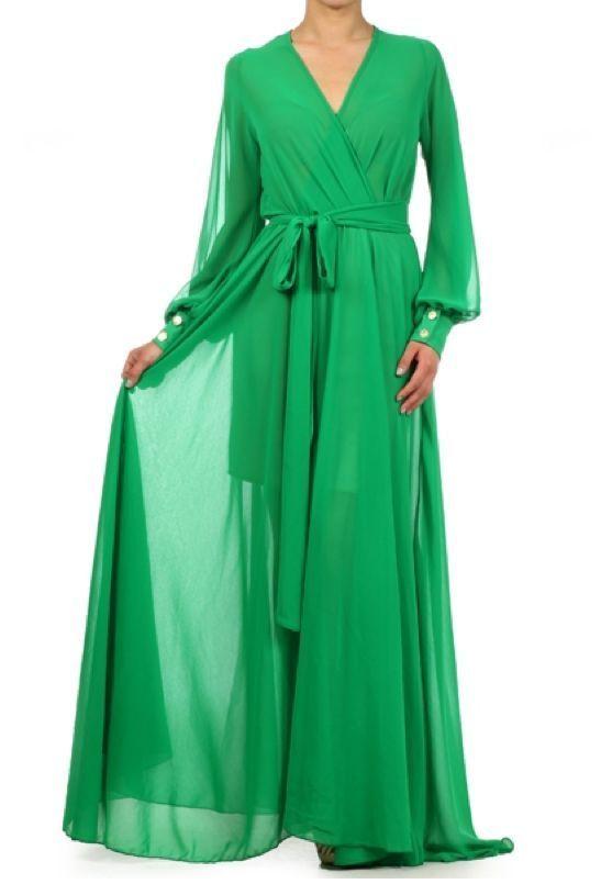 78bef9b9721 GREEN FULL SWEEP Chiffon MAXI DRESS Wrap SHEER Gown CRUISE Long Skirt PARTY  vtg