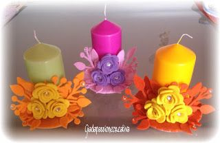 Decorare Candele Bianche : Giada passione creativa candele decorate velas