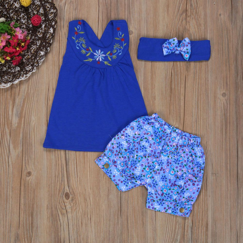 2017 Summer Baby Kids Girls Outfit Clothes Floral Vest Sleeveless T-shirt+Short Pants+Headband 1Set Casual Clothing Sets