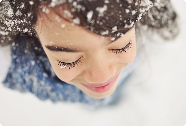 13.) Snowflakes that stay on my nose and eyelashes ...