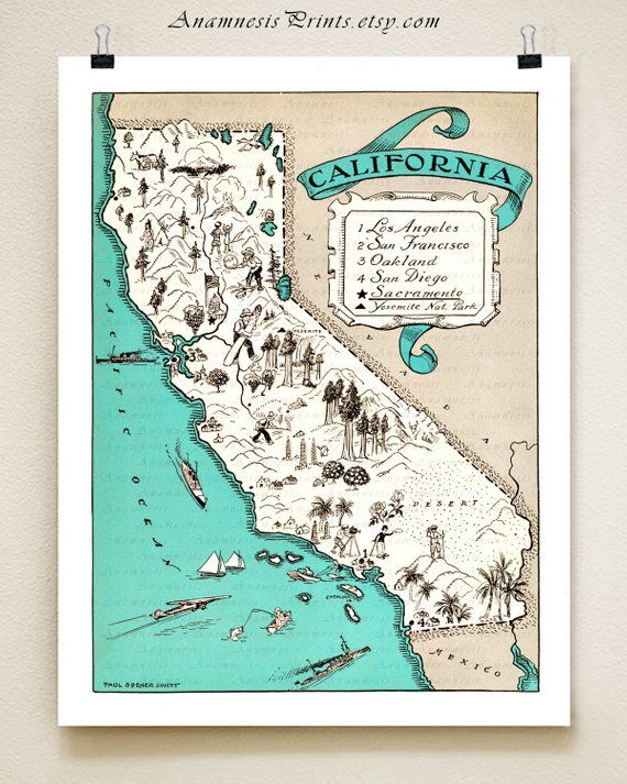 CALIFORNIA MAP print - vintage map - coastal artwork - turquoise