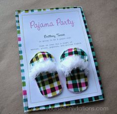 diy pajama party invitations unique and crafty slipper invitations scrapbooking cards in 2018. Black Bedroom Furniture Sets. Home Design Ideas