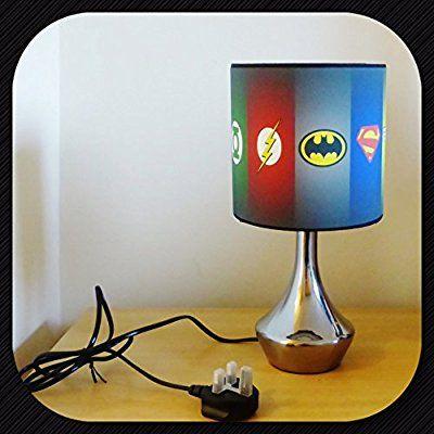 NEW SUPER HERO BATMAN SUPERMAN SYMBOL - BEDSIDE LAMP - BOYS BEDROOM ...