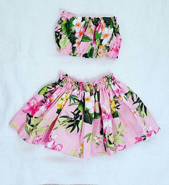 Baby Toddler Kids Girl Hawaiian Grass Beach Skirt Flower Wristband Party Costume