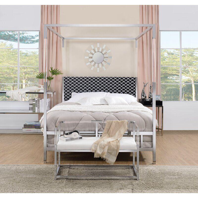 Firkins Queen Upholstered Canopy Bed in 2020 Queen