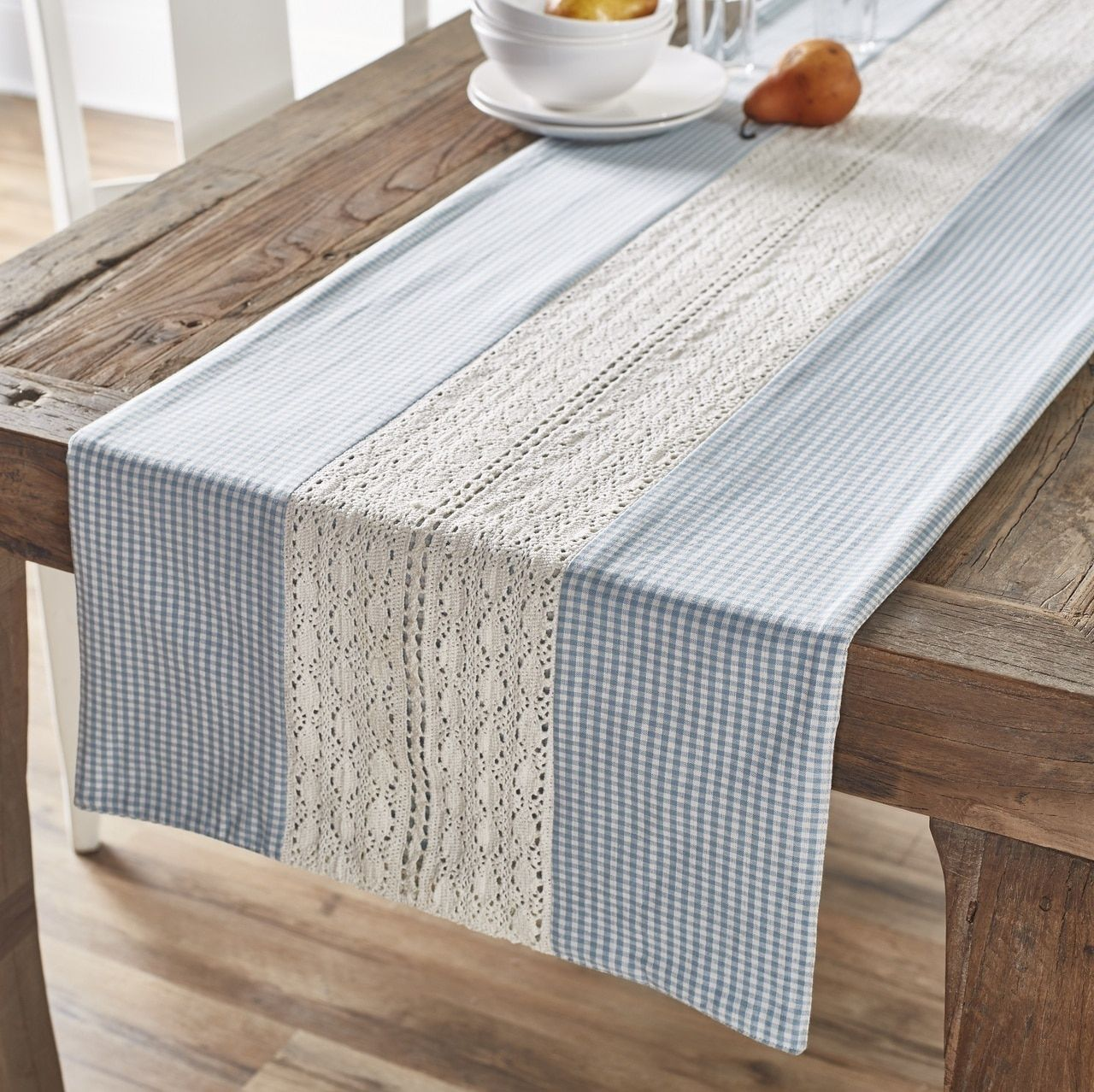 French Country Table Runner Blue White Lace Gingham Print Cotton 72 Matching Placemats And Napkins Also Available Blue Table Runner Cottage Table Blue Table